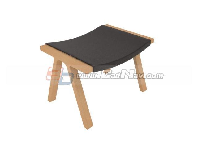 Wood foot stool 3d rendering