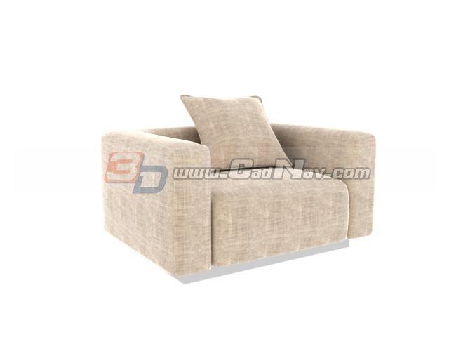 Hotel single seat sofa chair 3d rendering