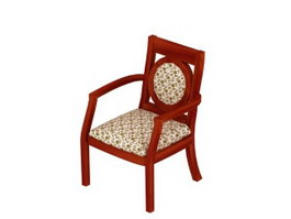 Wood armed banquet chair 3d preview