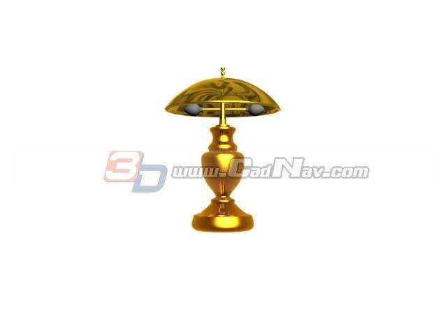 Antique brass desk lamp 3d rendering