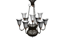 Antique wrought iron chandelier 3d preview