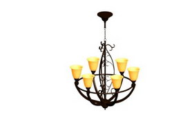 Hanging Iron chandelier 3d preview
