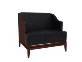 Wood chair fauteuil 3d preview