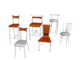 Metal Restaurant Chairs 3d model preview