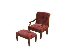 Antique Wood Chair with Ottoman 3d preview