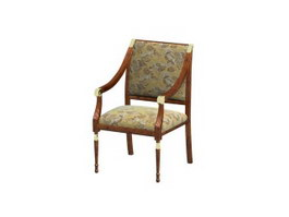 Solid wood hotel chair 3d preview