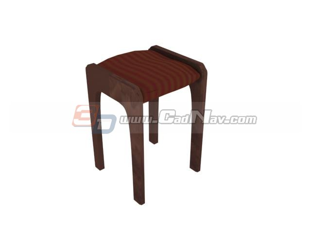Square wooden stool 3d rendering