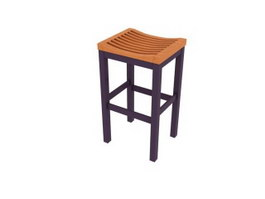 Wooden saddle bar stool 3d preview