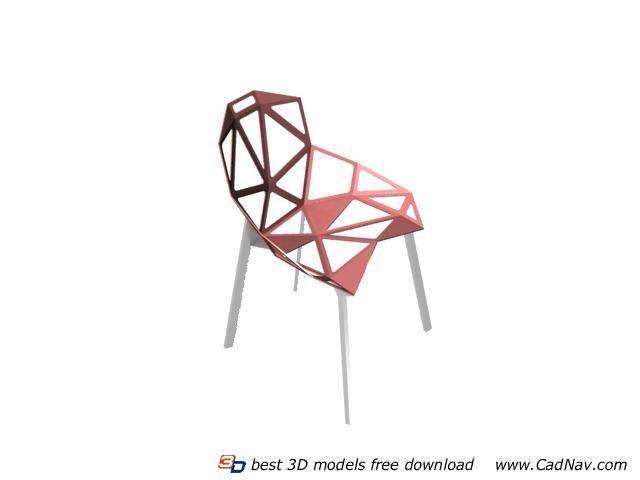 Outdoor wire chair 3d rendering