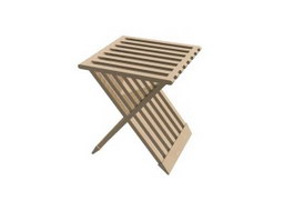 Folding wooden Stool 3d preview