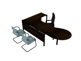 Office workstation table and chairs 3d preview