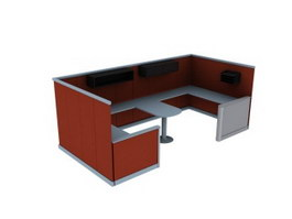 Office workstation with partition wall 3d model preview