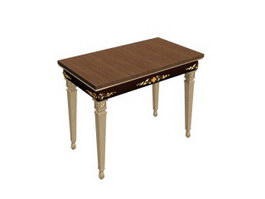 Europe wooden dining table 3d model preview
