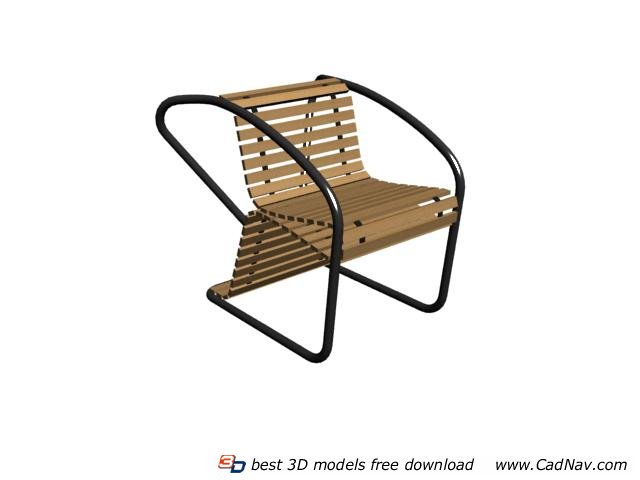Outdoor bamboo chair 3d rendering