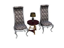 Antique chairs living room set 3d model preview