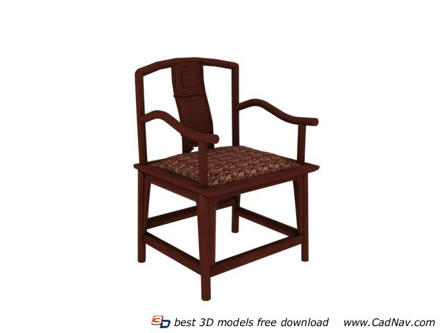 Chinese style dining chair 3d rendering