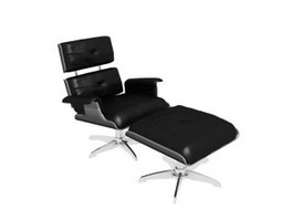 Office Lounge Chair and Ottoman 3d preview