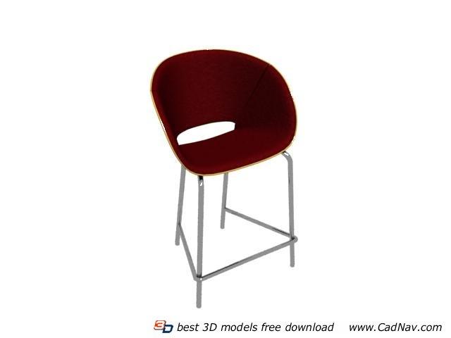 Stainless steel garden chair barstool 3d rendering