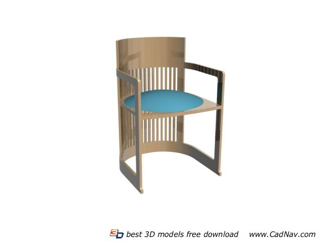 Living Room Wood Barrel Chair 3d rendering