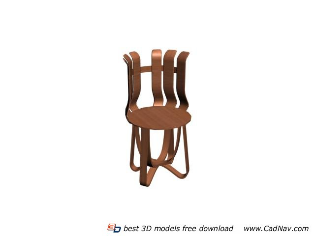 Hand shaped wood chair 3d rendering