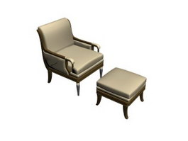 Living Room lounge chair and ottoman 3d preview