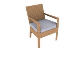 Wooden leisure armchair 3d preview
