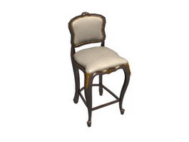 Antique Wooden barstool 3d preview