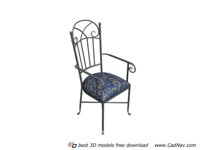 Wrought iron garden chair 3d rendering