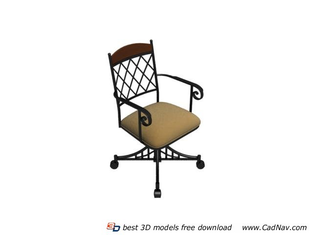 Bistro Wrought Iron Chair 3d rendering