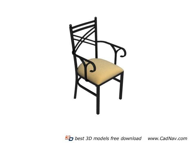 Vintage French Bistro Metal Chair 3d rendering