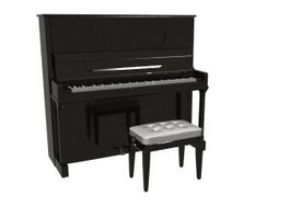 Upright Piano and Piano Stool 3d preview