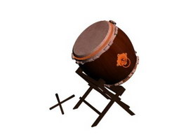 Chinese antique drum and drum sticks 3d preview