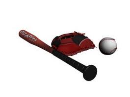 Baseball Set Baseball glove Baseball bat 3d preview