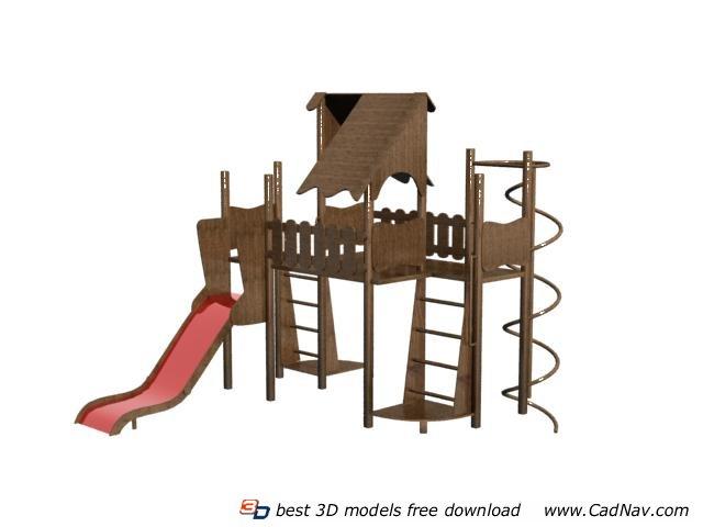 Children playground equipment 3d rendering