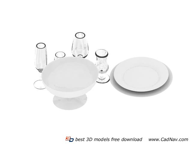 Dinnerware Sets Wine Glasses and Dinner Plate 3d rendering