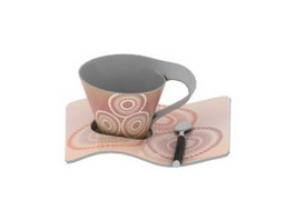 Ceramic coffee cup and saucer set 3d model preview