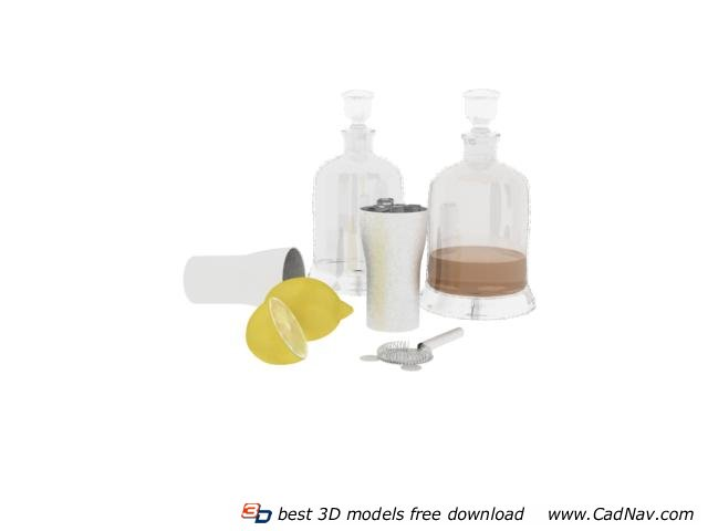 Wine Glass Bottles and Glass Mugs 3d rendering