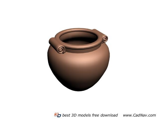 Large Terracotta water pot 3d rendering