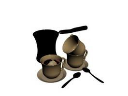 Ceramic Coffee Set with Coffee Pot 3d preview