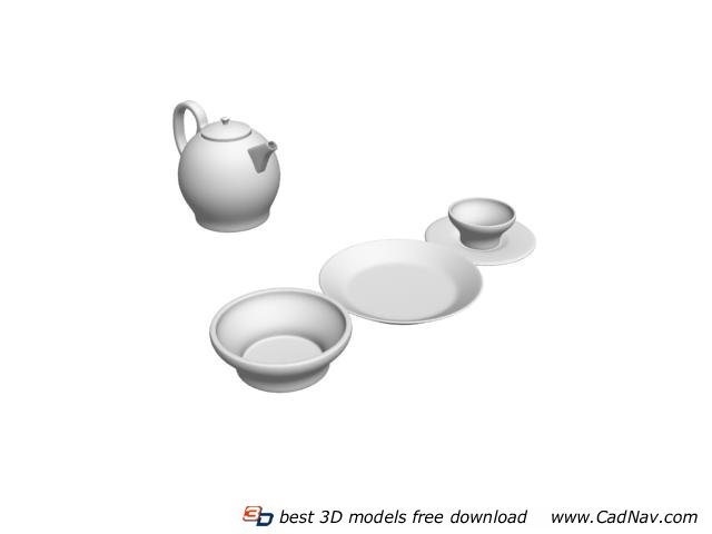 Ceramic teapot Cups and Saucers 3d rendering