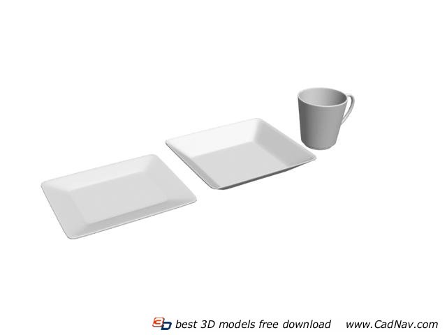 Ceramic plates and cup 3d rendering