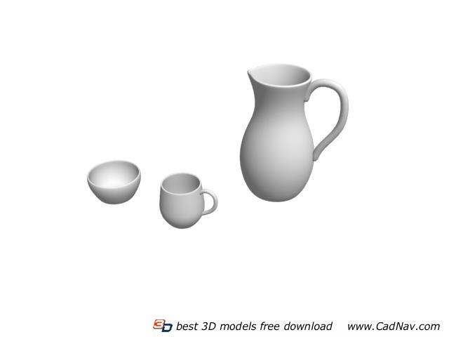 Ceramic cups mugs and pot 3d rendering