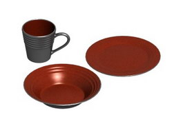 Pottery Plates and Mug 3d preview