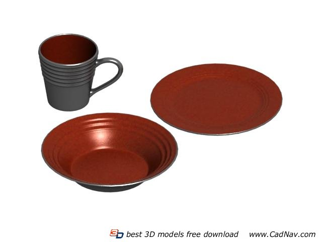 Pottery Plates and Mug 3d rendering