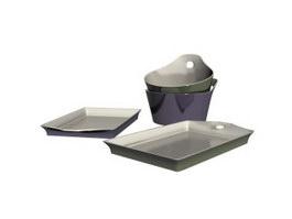 Melamine Dinnerware set 3d model preview