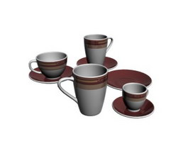 Porcelain coffee set Cups and Saucers 3d preview