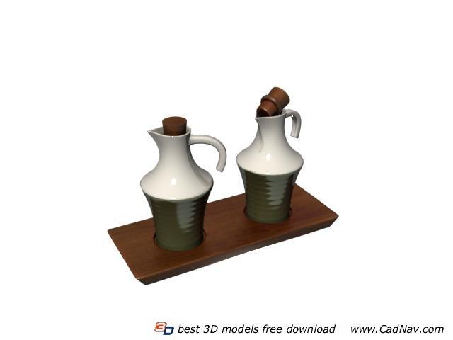 Tableware Ceramic Spice Bottles 3d rendering