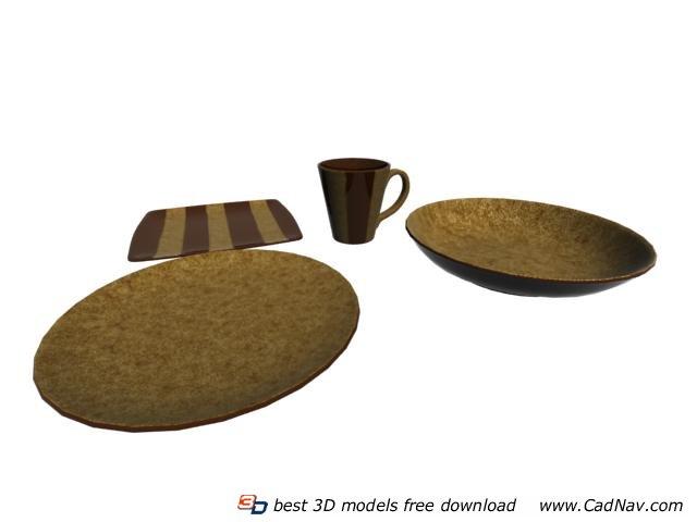 Terracotta dinnerware sets 3d rendering