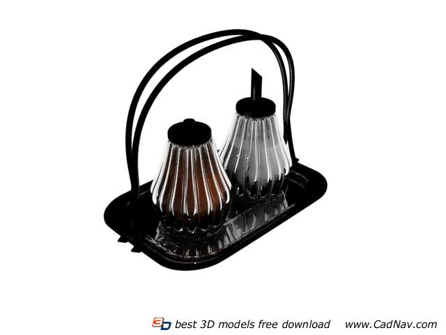 Glass Spice Bottle with metal stand 3d rendering