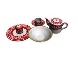 Painted ceramic dinnerware sets 3d model preview